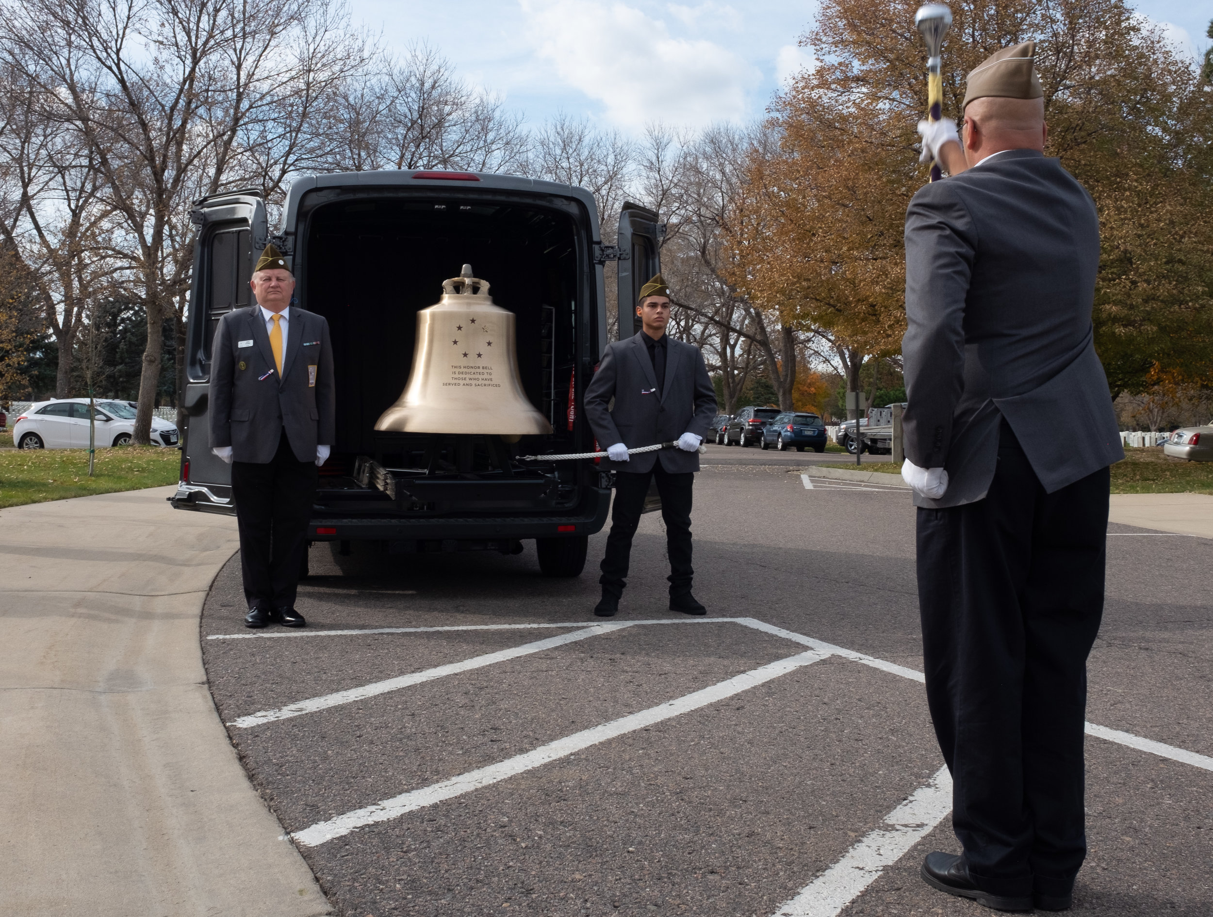 The Honor Bell being tolled at a service for unclaimed remains at Fort Logan National Cemetery in Denver, Colorado.