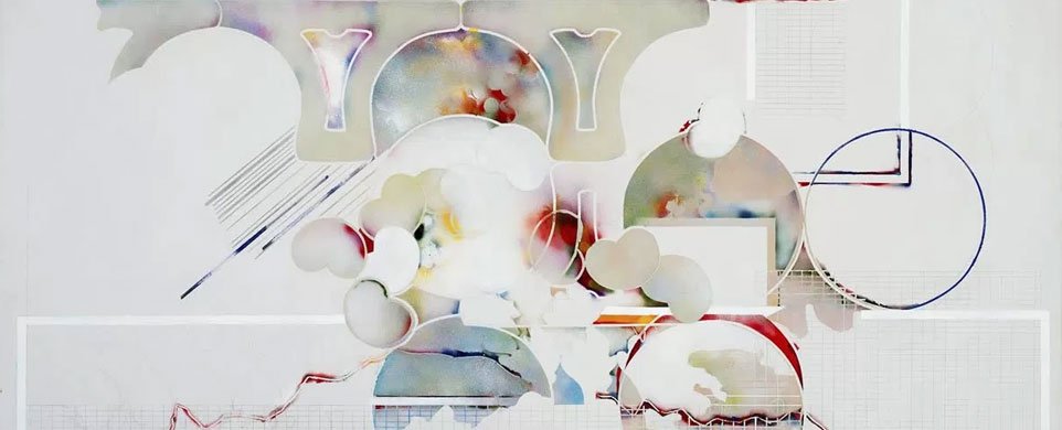 Sonya Rapoport,  Koch II , 1972-1974. Spray acrylic and graphite on canvas, 72″ x 96″.