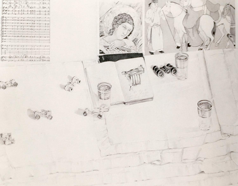 """Carole Doyle Peel, Duccio and Music of Berlioz  (Benvenuto Cellini) , 1992/93, graphite, 32x40"""". Collection of the Estate of Carole Doyle Peel."""