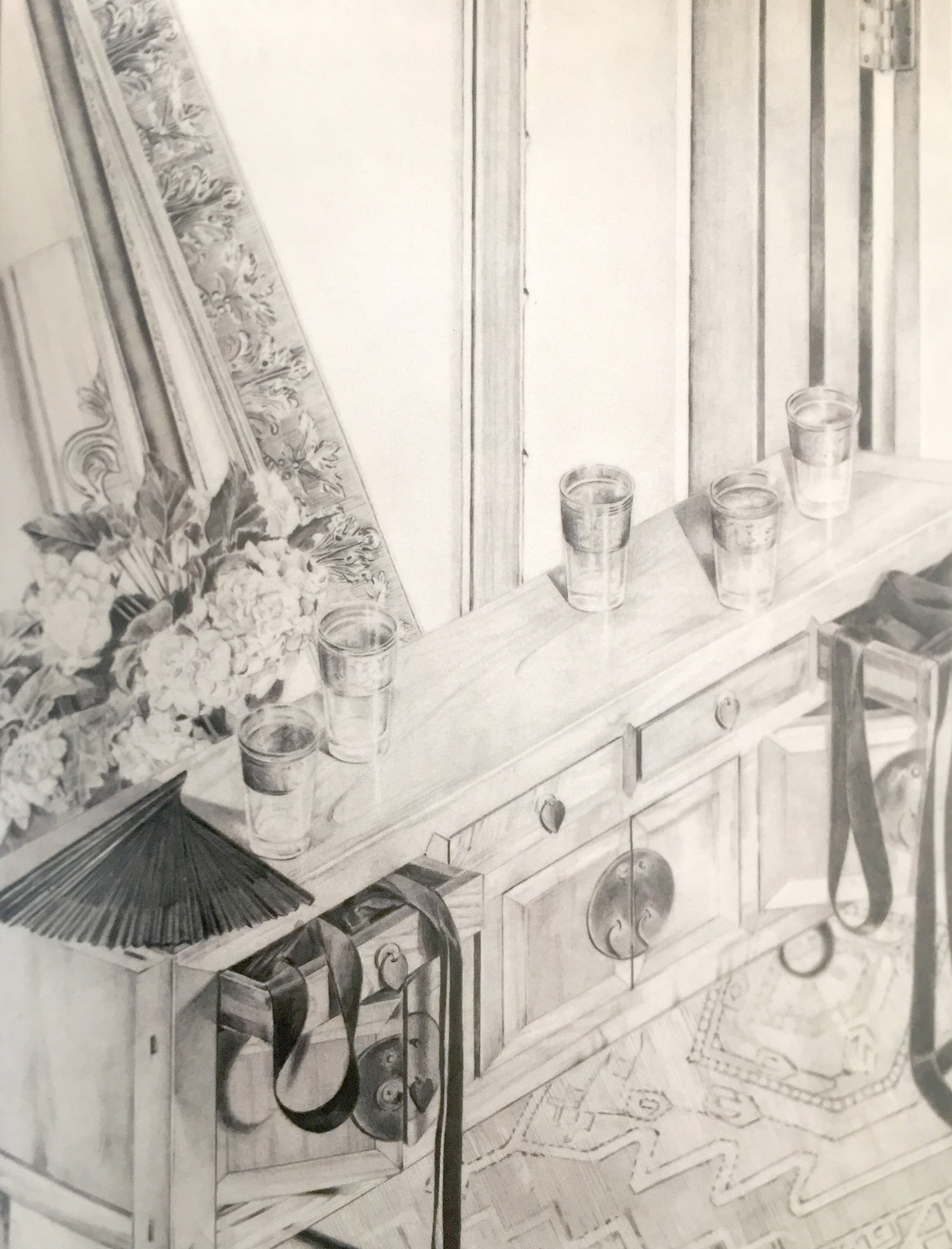 """Carole Doyle Peel,  Fan with Ribbons and Water Glasses , 2000, graphite, 40x32"""". Collection of the Estate of Carole Doyle Peel."""