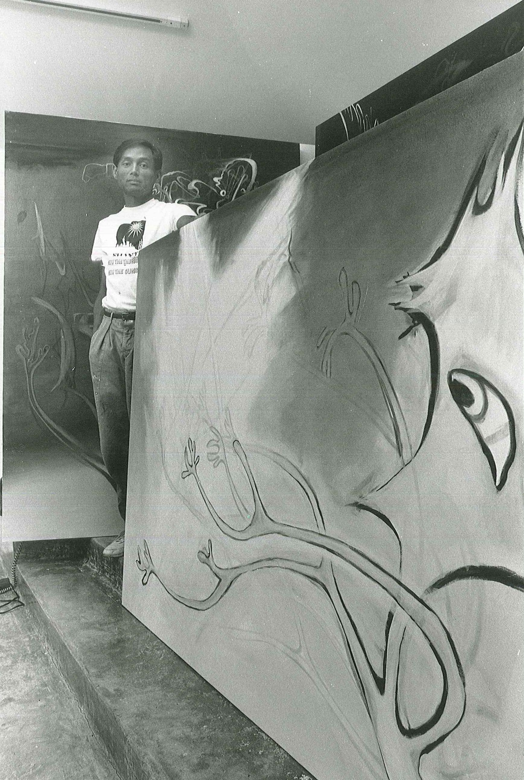 Ed in his studio. Courtesy of the Estate of Ed Aulerich-Sugai.