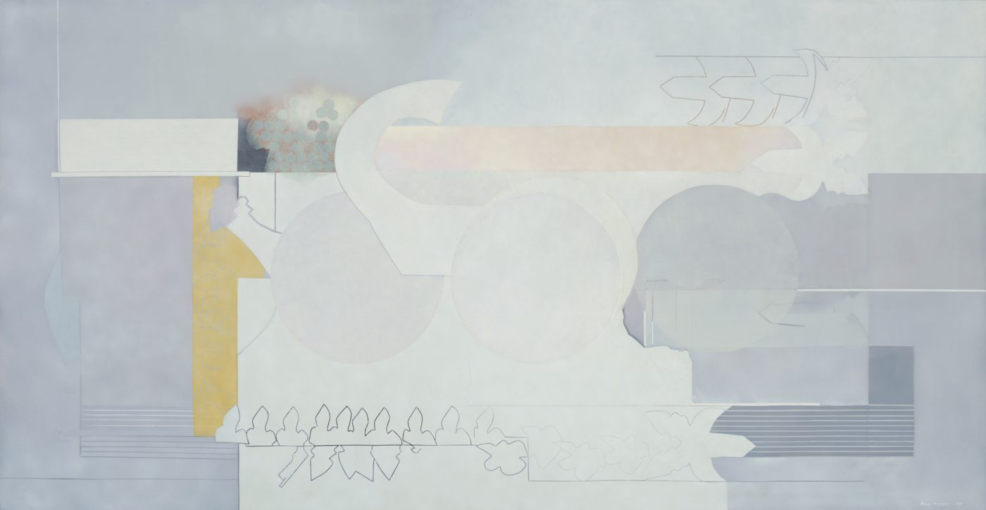 "Sonya Rapoport,  Lavender Grey , 1973. Pencil, acrylic, and airbrush on canvas, 72"" x 142""."