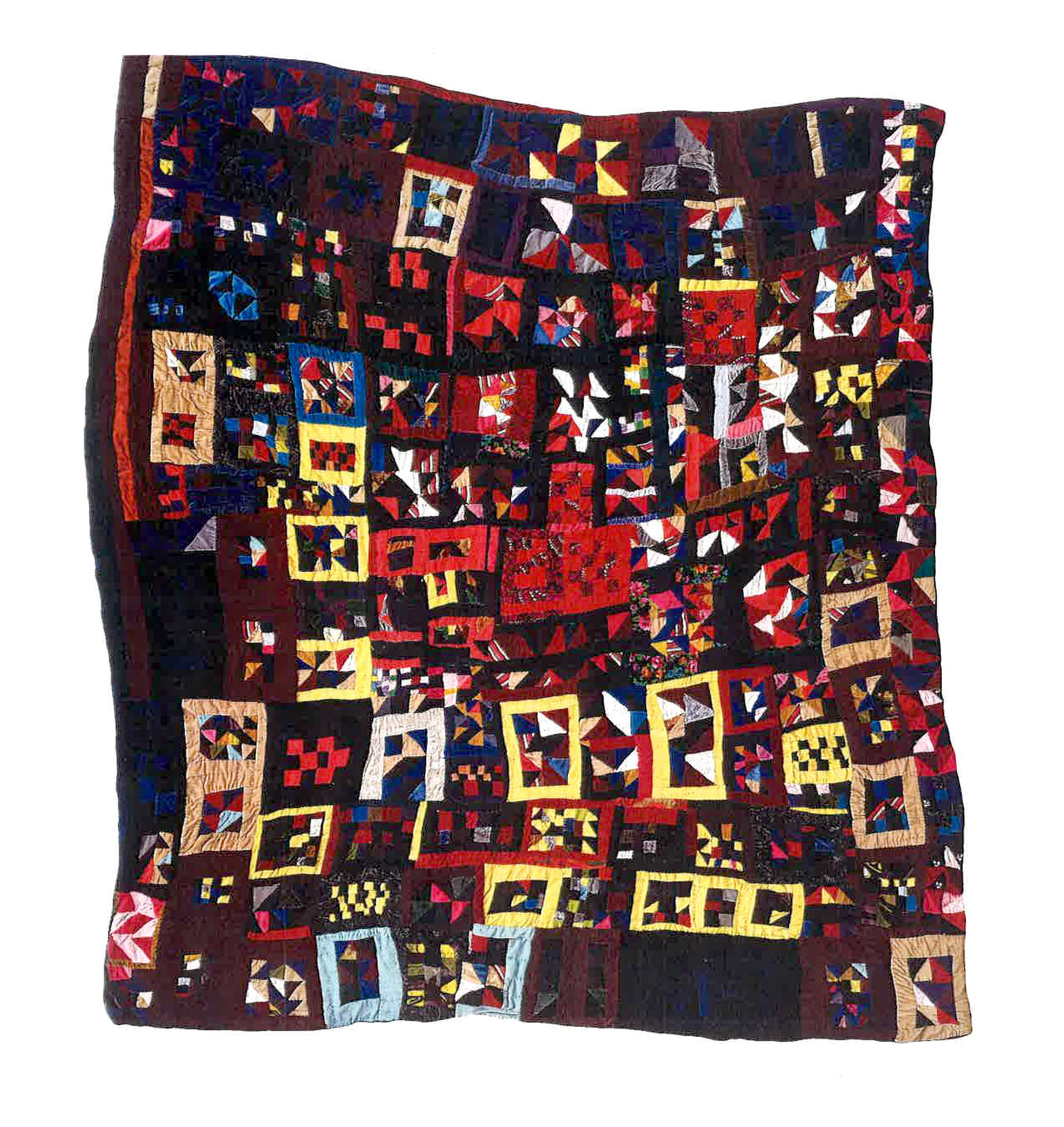 Put-together , pieced by Rosie Lee Tompkins, Richmond, California, 1985. Quilted by Willia Ette Graham, Oakland, California, 1986. Velvet, velveteen, velour, panné velvet, chenille; backed with cotton sheeting, cotton-poly broadcloth. 74 x 82 inches.