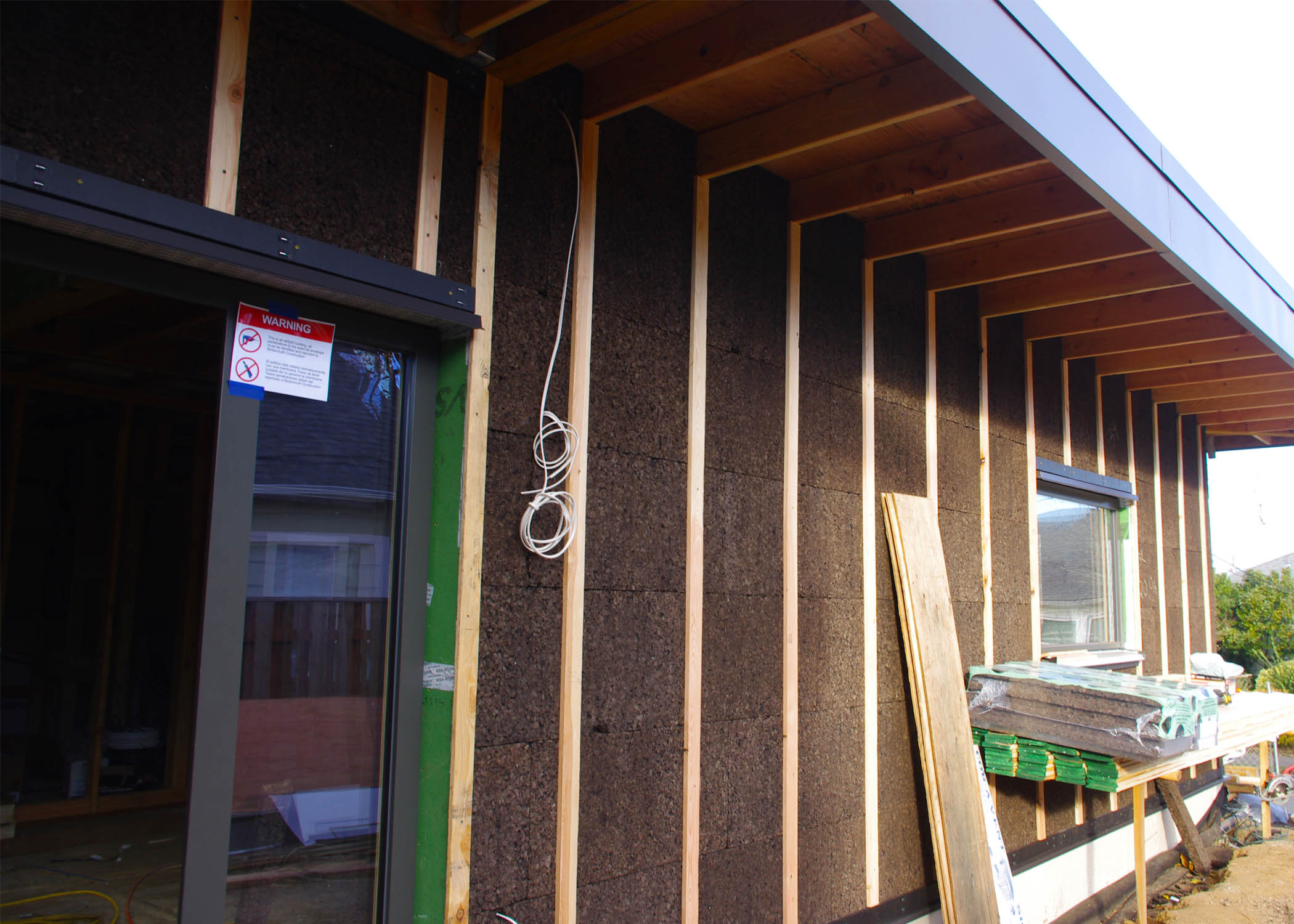 ThermaCork Insulation w/ wood battens.