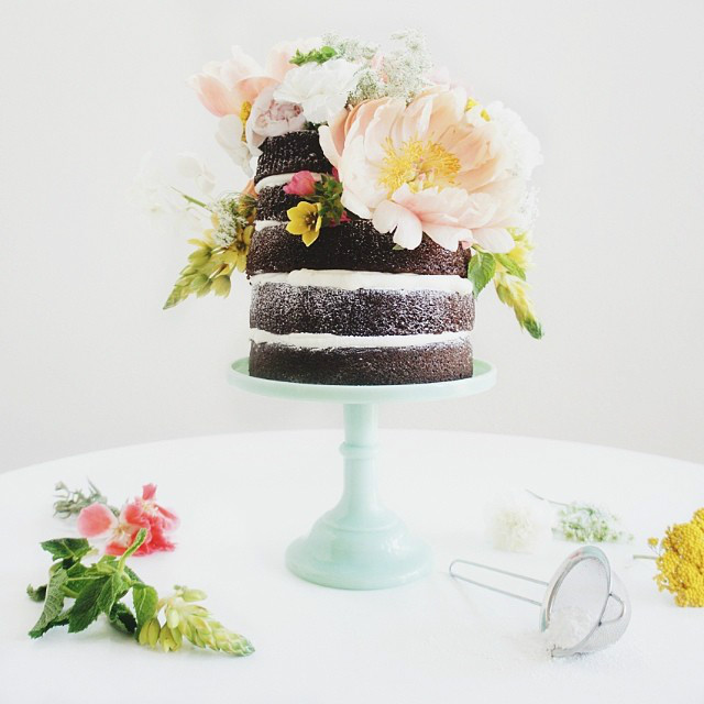 Fresh floral naked cake by Brandy Brown of Marabou Design.