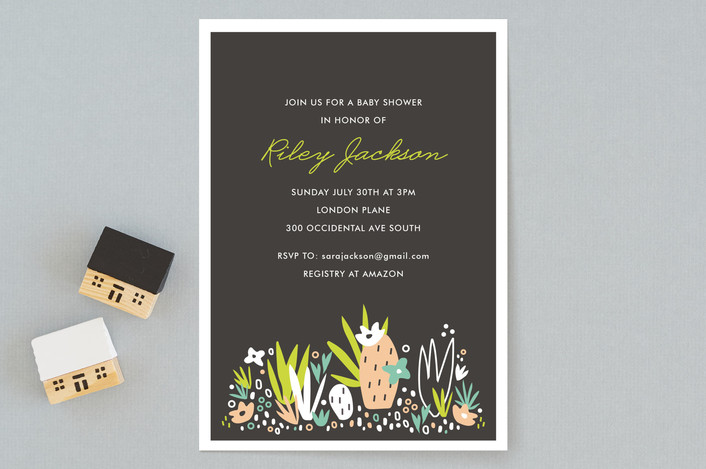 Our hand drawn desert botanical,  Agave Bebe  illustration was created a modern playful design. Matching accessories are available to compliment and t  his design can be converted into a general party invitation. View complete suite  HERE !