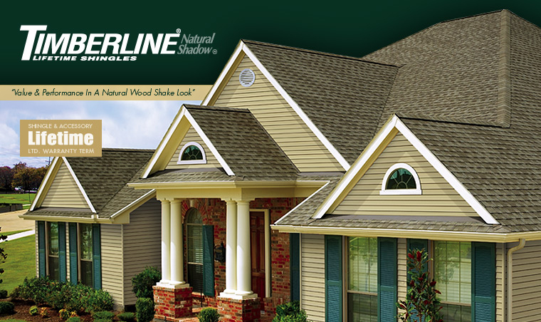 """GAF Timberline Natural Shadow - Lifetime Shingles   Professional installers have long preferred the rugged, dependable performance that only a Timberline ® roof can offer. That's why Timberline ® Shingles with Advanced Protection ® Technology are the #1-selling shingles in all of North America.  But performance is only half the story. Since your roof can represent 40% or more of your home's """"curb appeal,"""" you can improve its resale value with Timberline ® Natural Shadow ® Shingles from GAF. They'll give you the upscale, architectural look you want, at a price you can afford!"""
