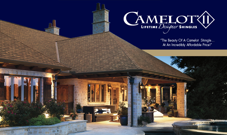 """GAF Camelot II Lifetime Designer Shingles - Camelot II Shingles offer the look of the original Camelot Shingles, but at an incredibly affordable price!    """"Never before has the beauty of a luxury roof been priced so affordably!""""  Imagine getting the subtle beauty of a luxury designer shingle…but at an incredibly affordable price. Now, GAF's Camelot ® II Shingles can give your home that luxury look, without breaking your budget.  Designed after our top-of-the-line Camelot ® Lifetime Designer Shingles, Camelot ® II Shingles offer a luxury look for only pennies-a-day more than standard architectural shingles. And they're backed by a Lifetime ltd. warranty from GAF, North America's largest roofing manufacturer.  So your roof will not only last—it'll be the talk of the neighborhood!"""
