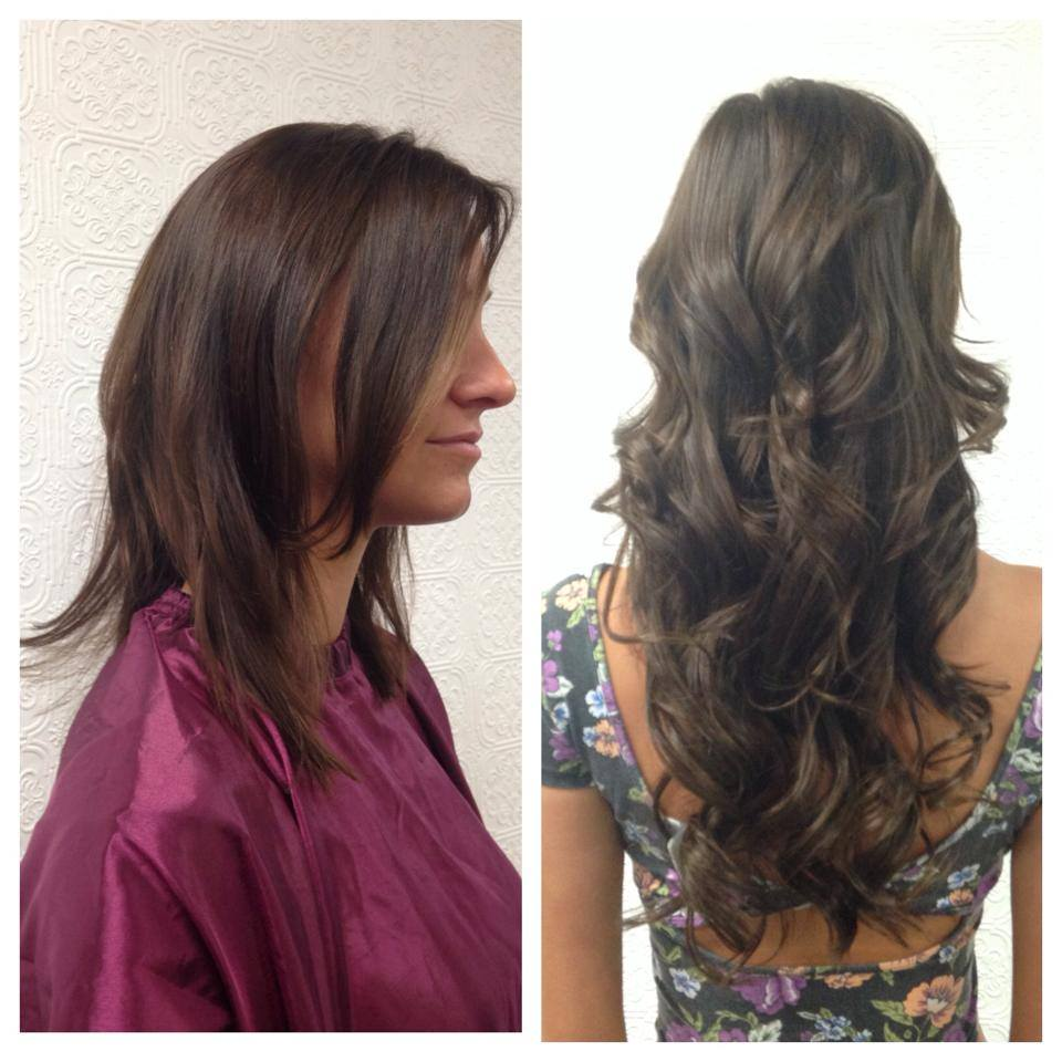 Side and back view hair extensions