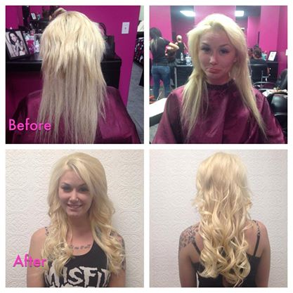 Before and after las vegas hair extension photo