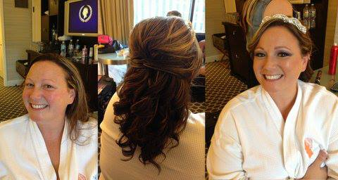 Brunette half up half down wedding hairstyle with a gorgeous tiara!