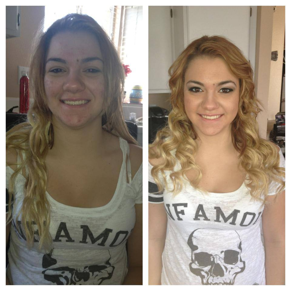 down waved hairstyle and airbrush makeup