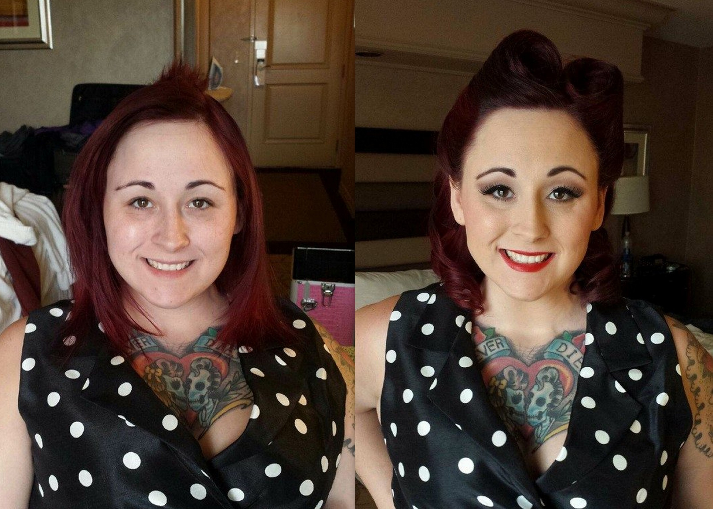 Pin-up Classic Vintage hairstyle and makeup