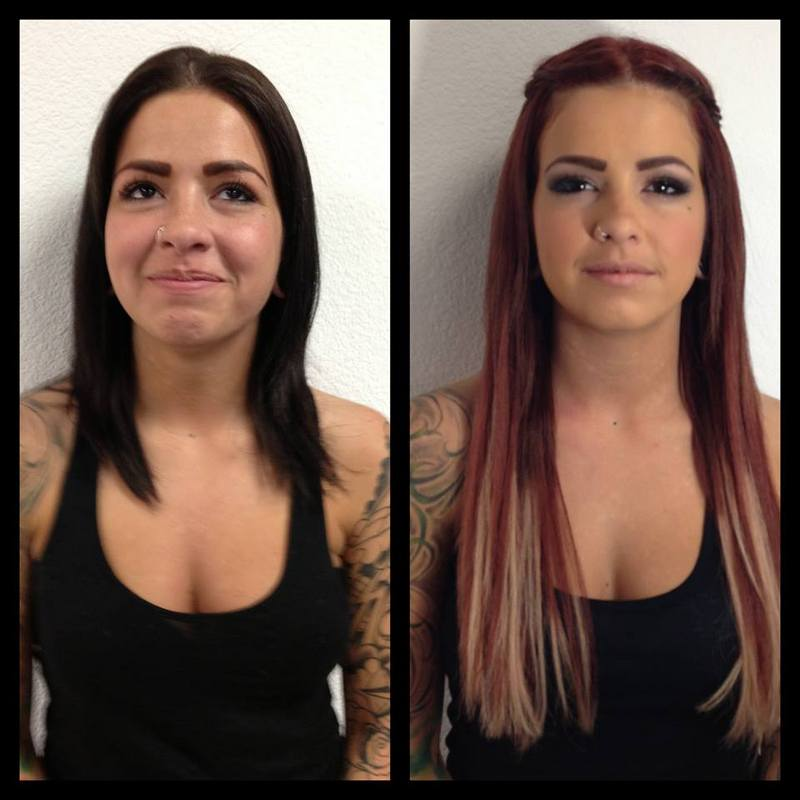 Makeover! hair color, hair extensions and makeup
