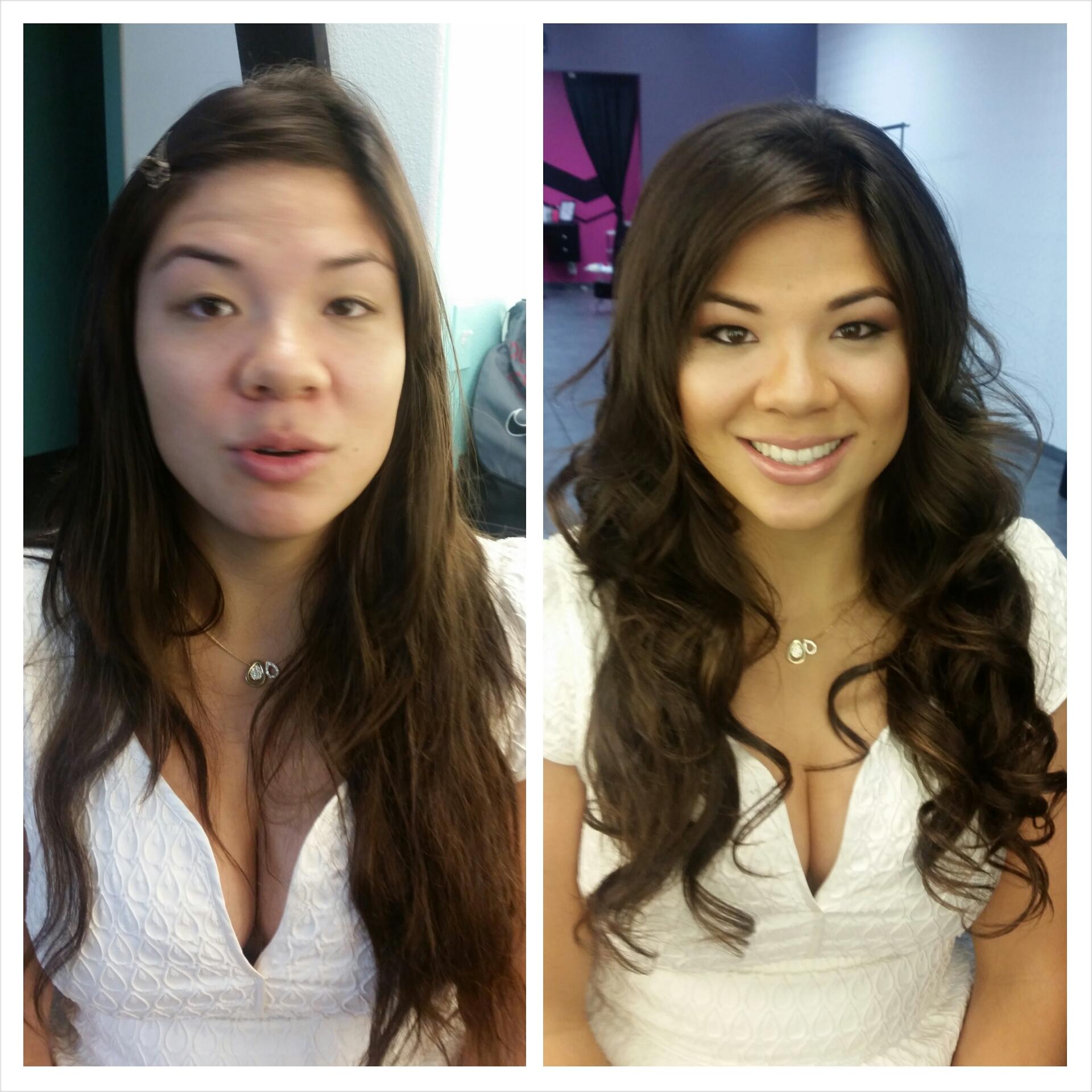 Long down hairstyle and natural makeup