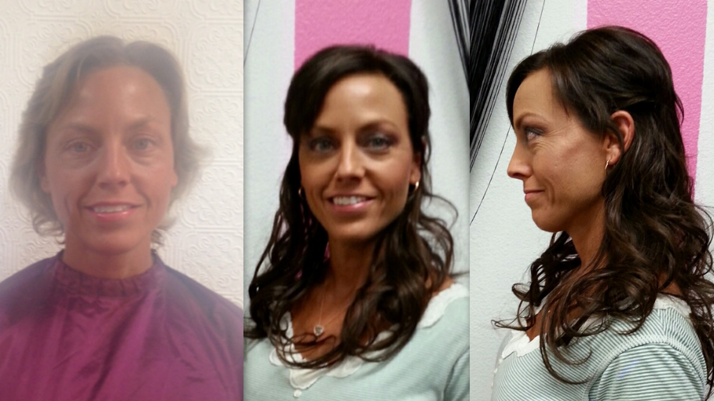 Makeover hair color, extensions and makeup