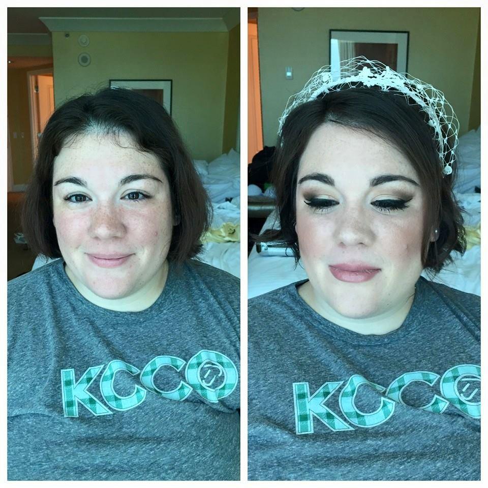 updo with birdcage veil and medium/dramatic makeup