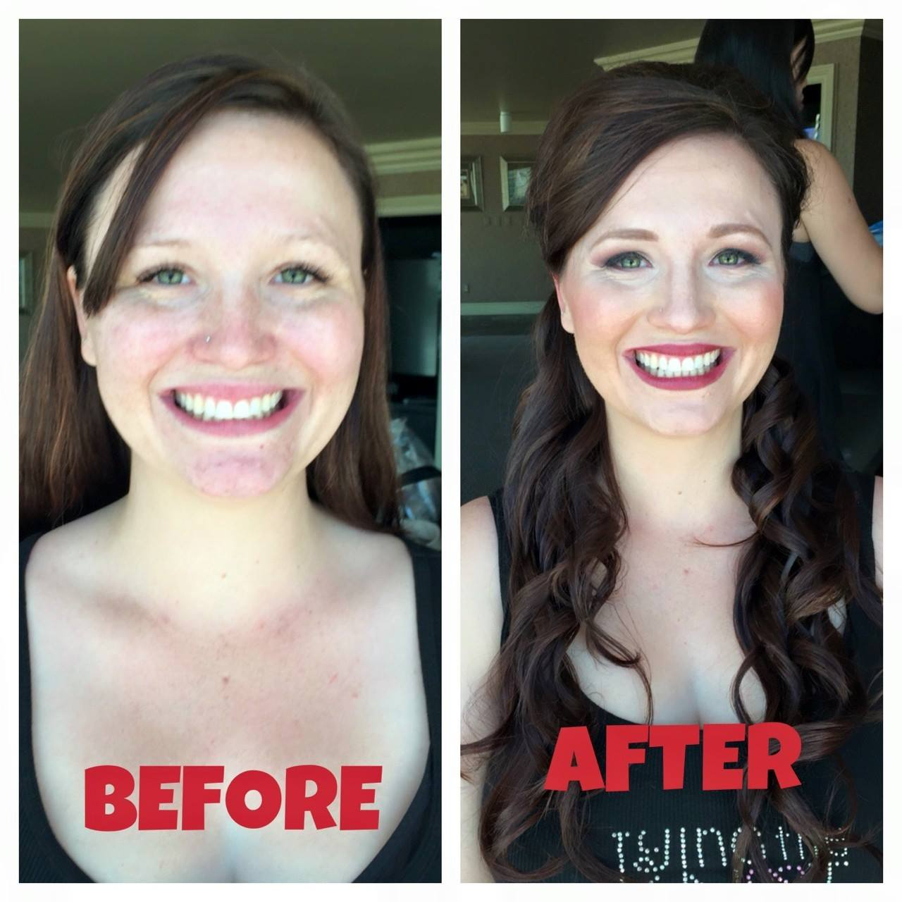 Half up half down bridal hairstyle and makeup