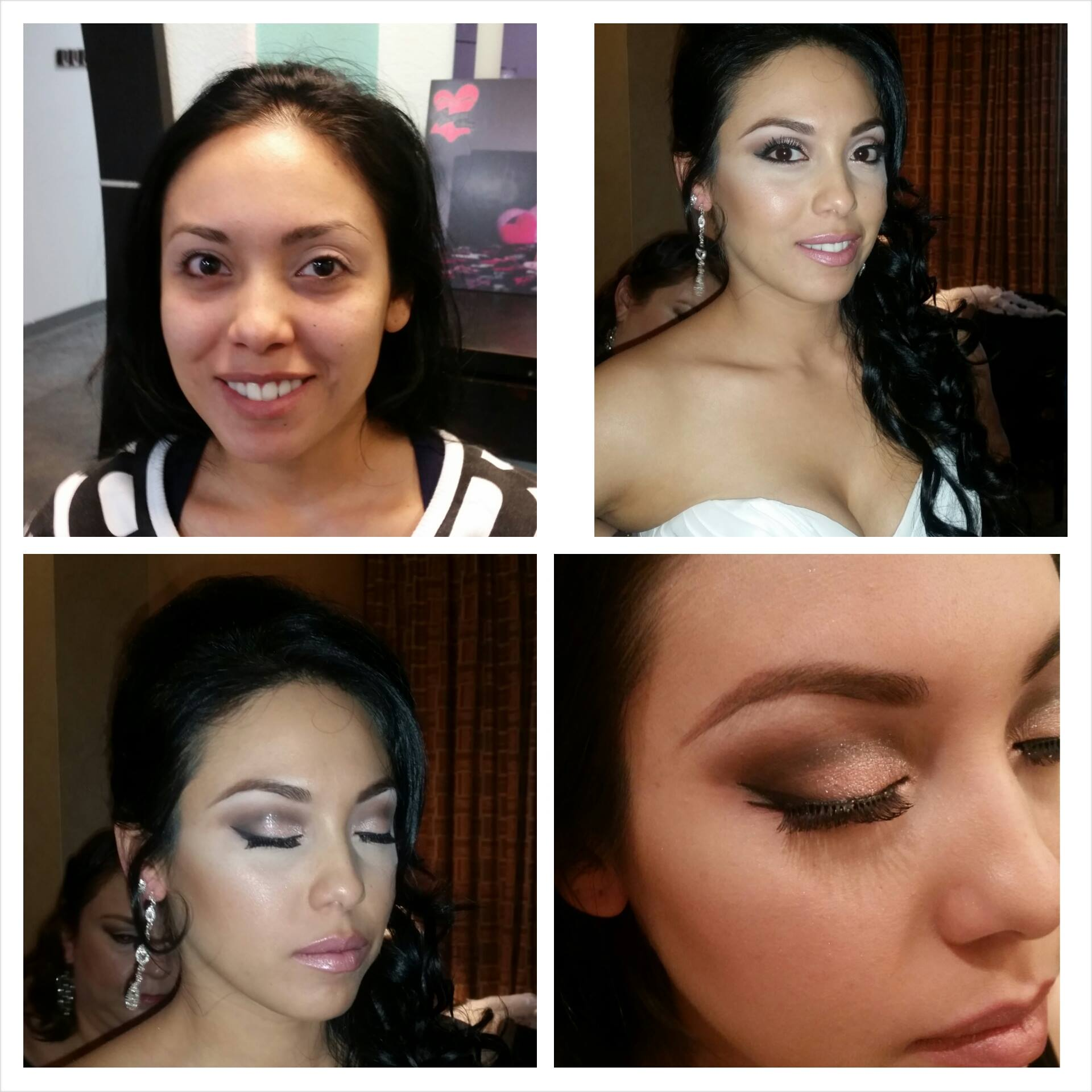 Gorgeous bride with long hair and shimmer eyeshadow