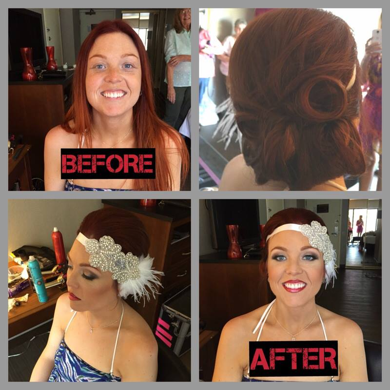 red head pin curled vintage flapper hairstyle with headband accessory