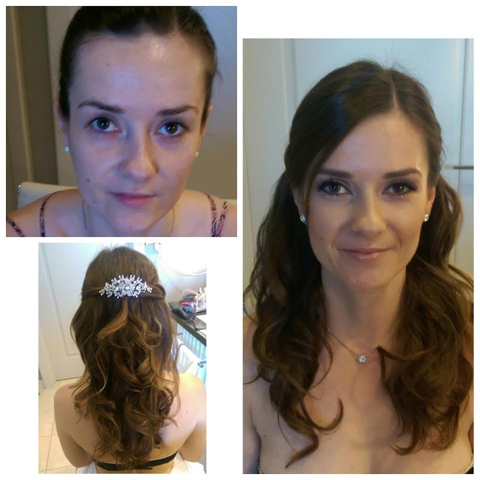 young looking half up half down wedding hairstyle with jeweled clip