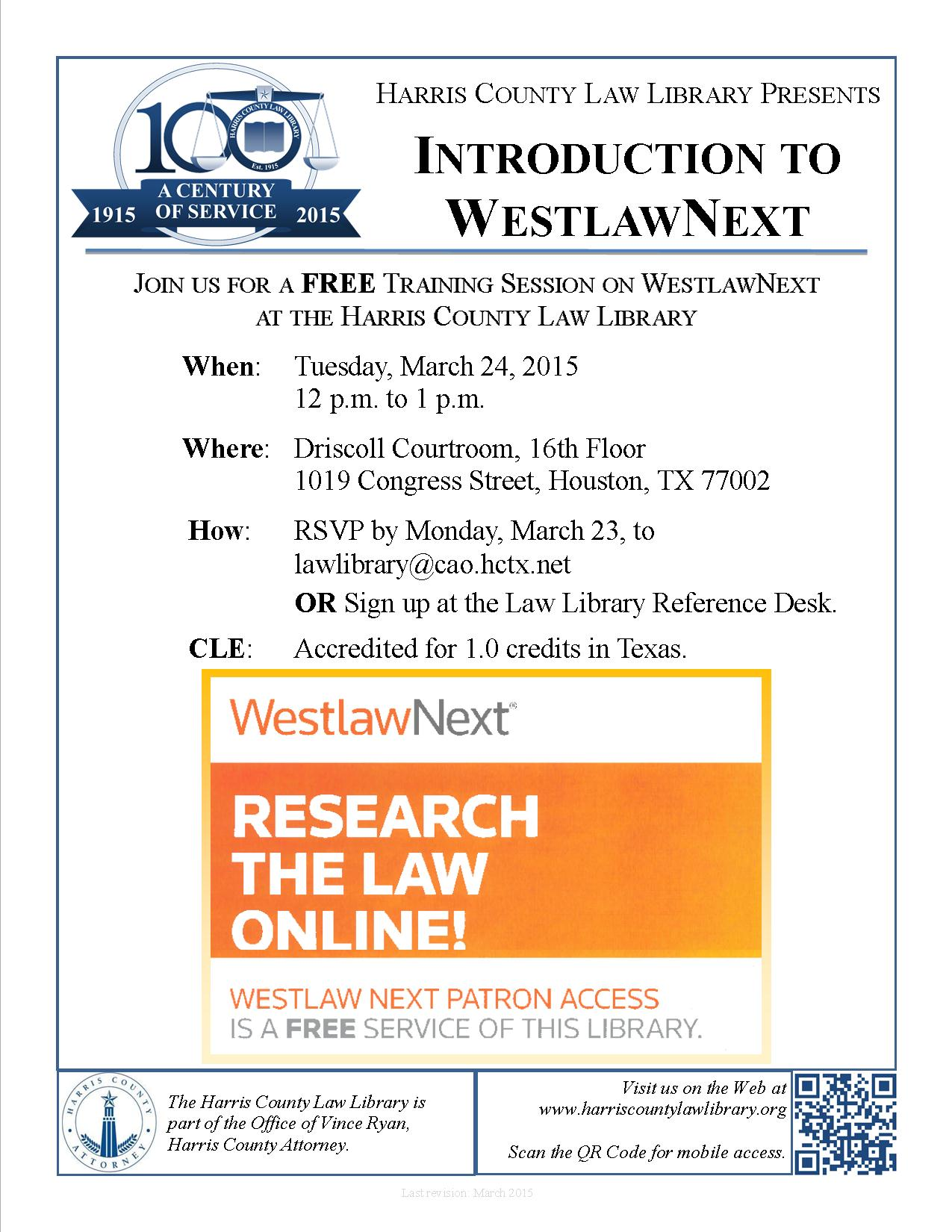 Click to download WestlawNext Training Session flyer