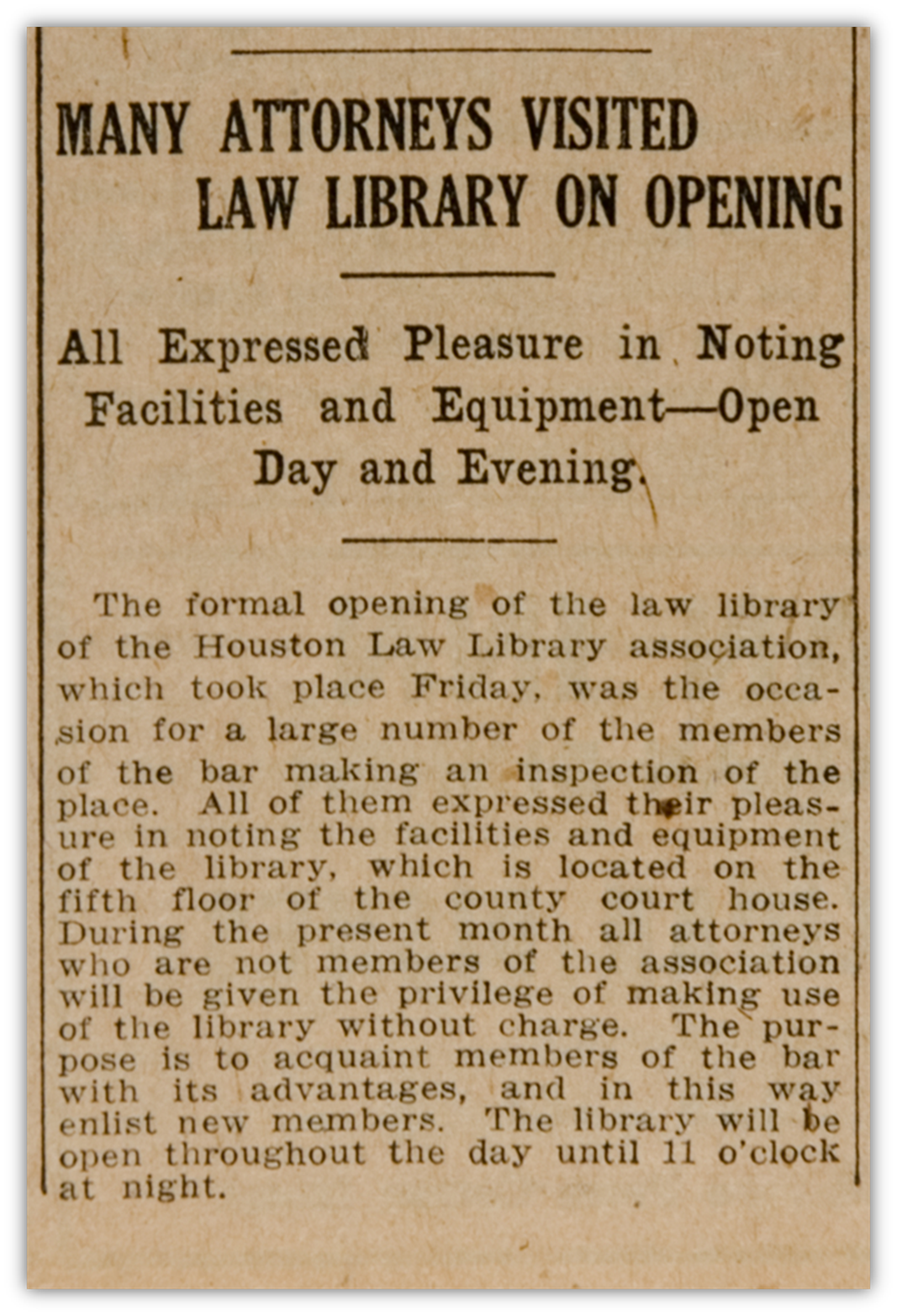 Houston Post  article published in October, 1915