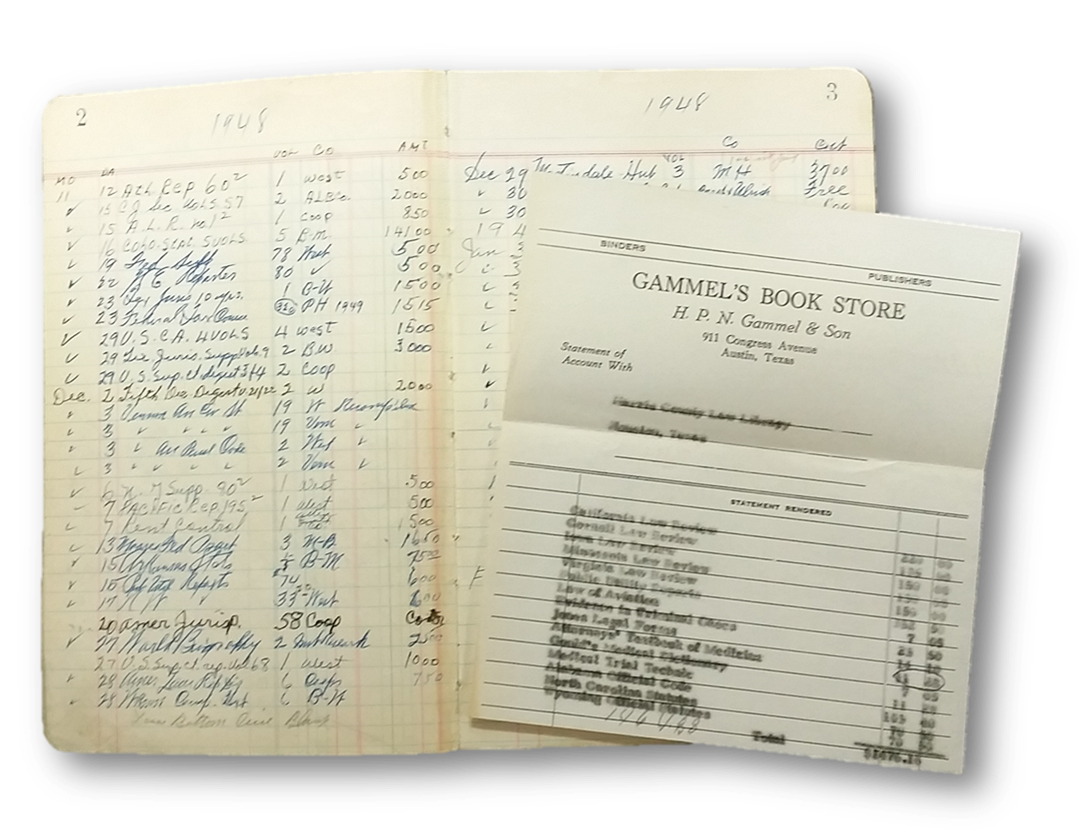 1948 ledger book with period receipt from Gammel's Book Store in Austin, Texas.  Click to enlarge .