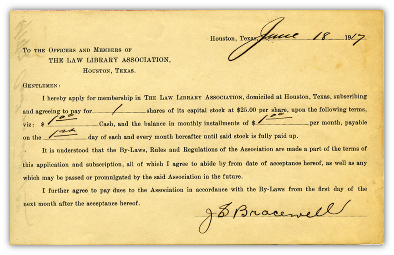 Lawyers Library Association membership card from 1917 signed by J.S. Bracewell.  Click to enlarge .