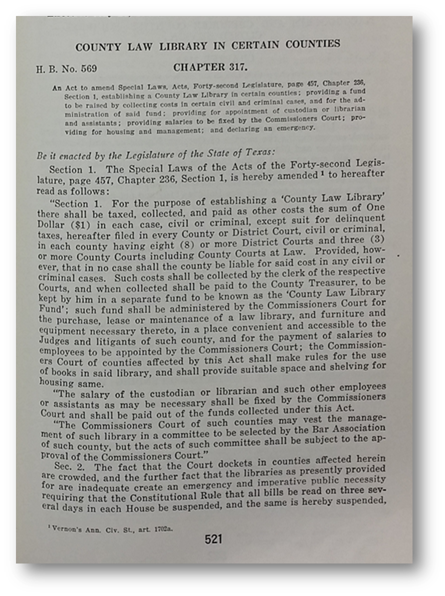 1941 Texas statute relating to funding for county law libraries.  Click to enlarge .