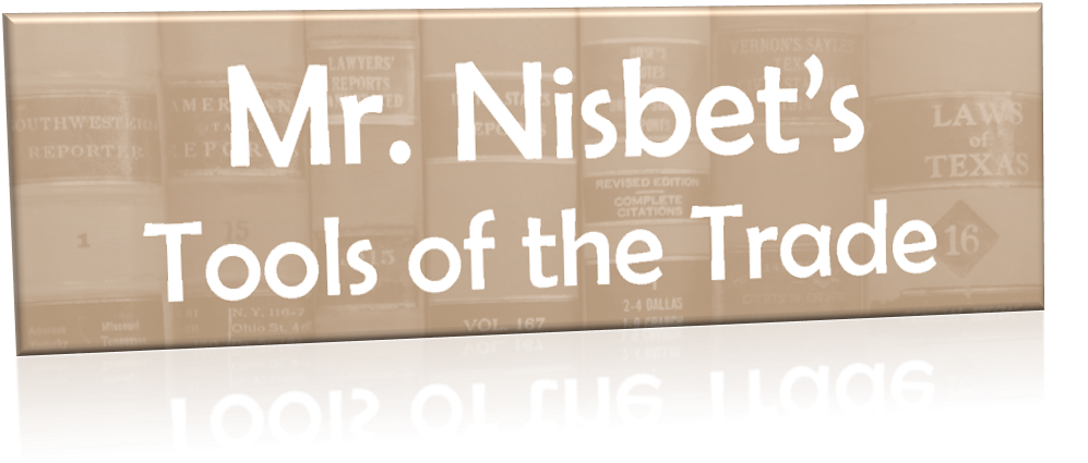 Link to Mr. Nisbet's Tools of the Trade page.