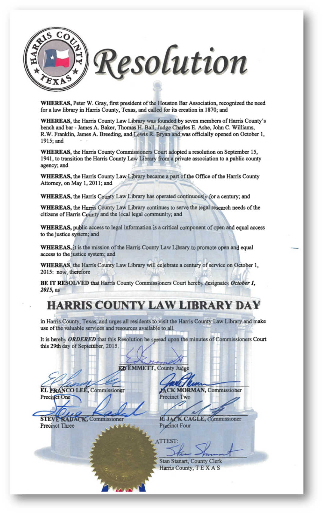Resolution adopted by Harris County Commissioners Court on September 29, 2015, designating October 1, 2015 as Harris County Law Library Day.  {click to enlarge}