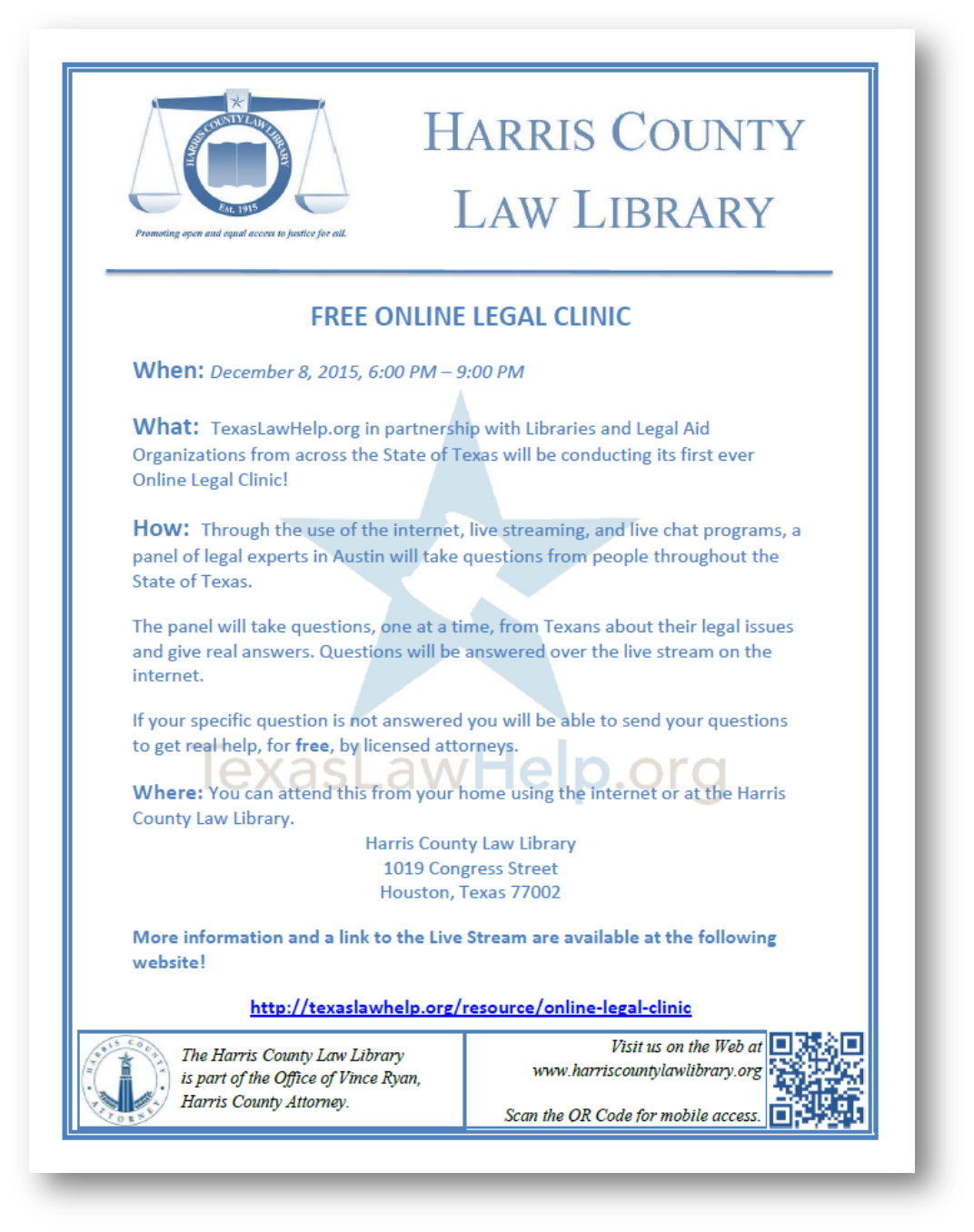 Link to PDF flyer for TexasLawHelp.org Online Legal Clinic