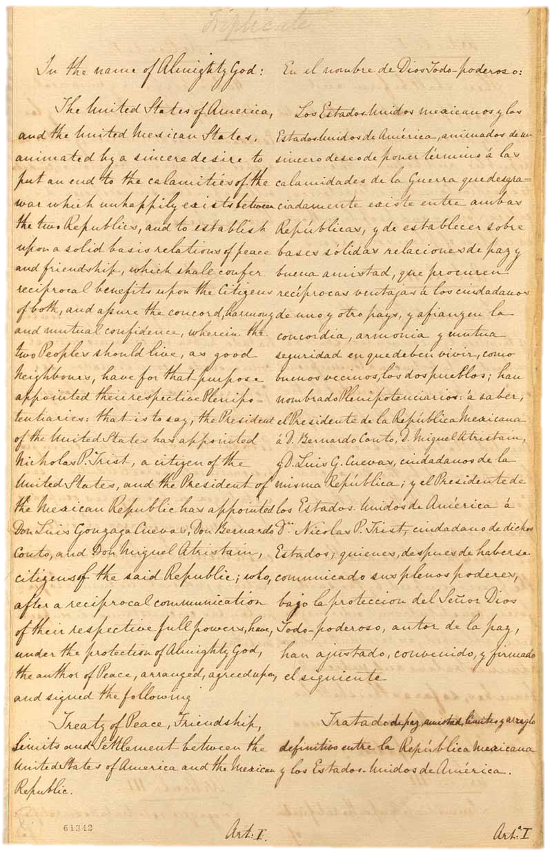 First page of the Treaty of Guadalupe Hidalgo  From the Nicholas Philip Trist Papers, 1795-1873, Manuscript Division,  Library of Congress