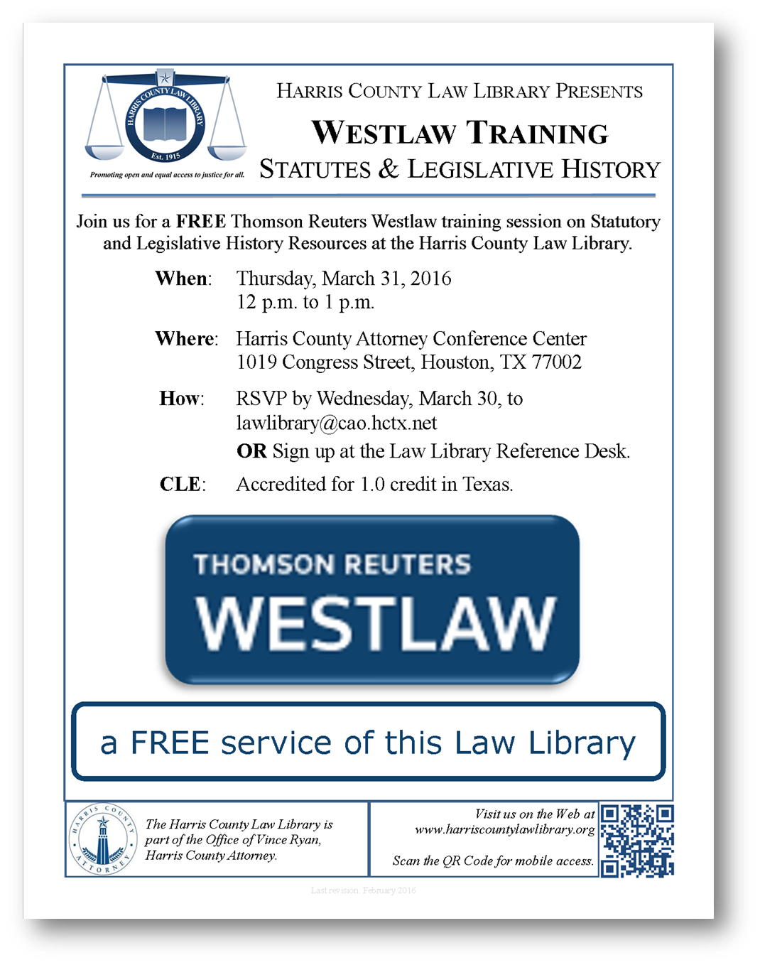 Link to PDF flyer for March 31 2016 Westlaw training at Harris County Law Library