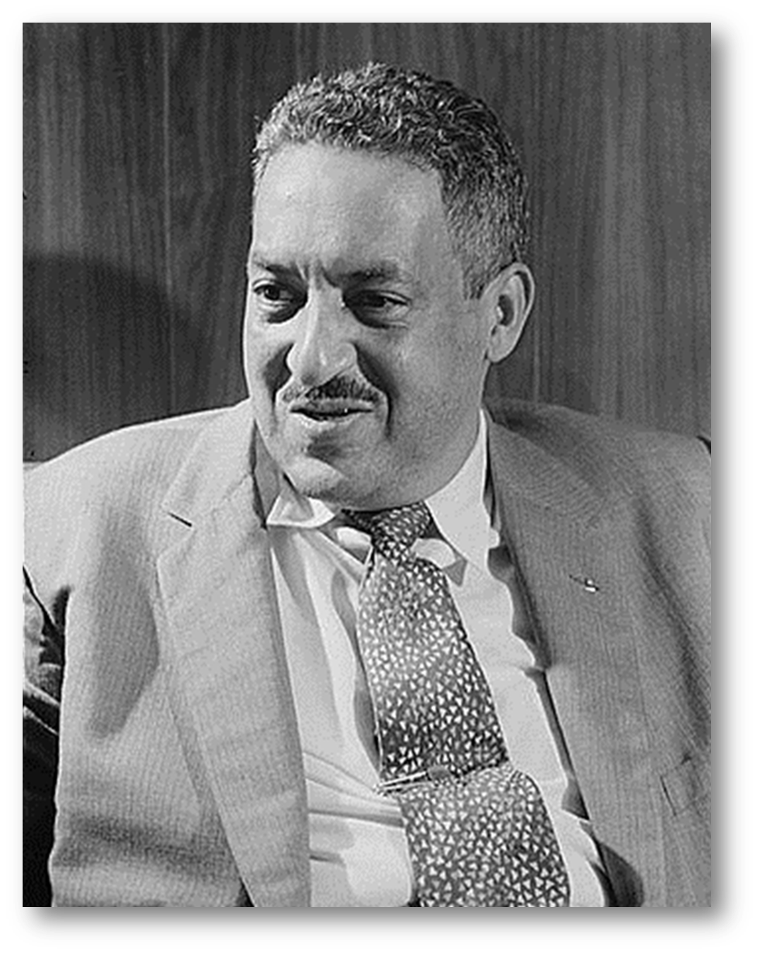 Photo of Thurgood Marshall c. 1957 - click to view Library of Congress catalog record for photo.