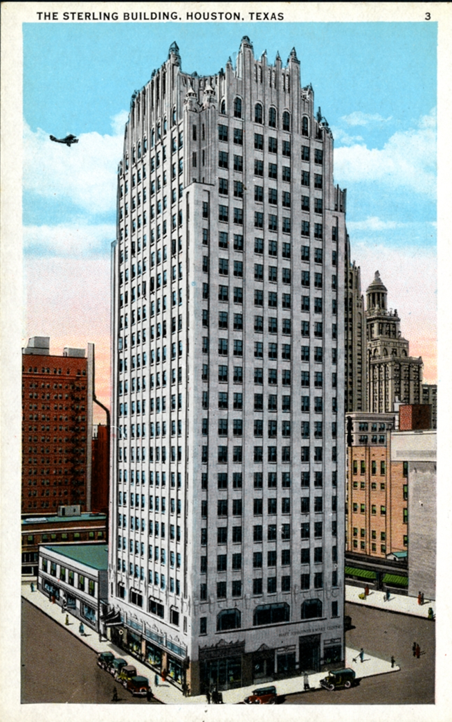 "v\:* {behavior:url(#default#VML);} o\:* {behavior:url(#default#VML);} b\:* {behavior:url(#default#VML);} .shape {behavior:url(#default#VML);}    ""Postcard of the Sterling Building, Houston."" (1930) Rice University:  http://hdl.handle.net/1911/80802 ."