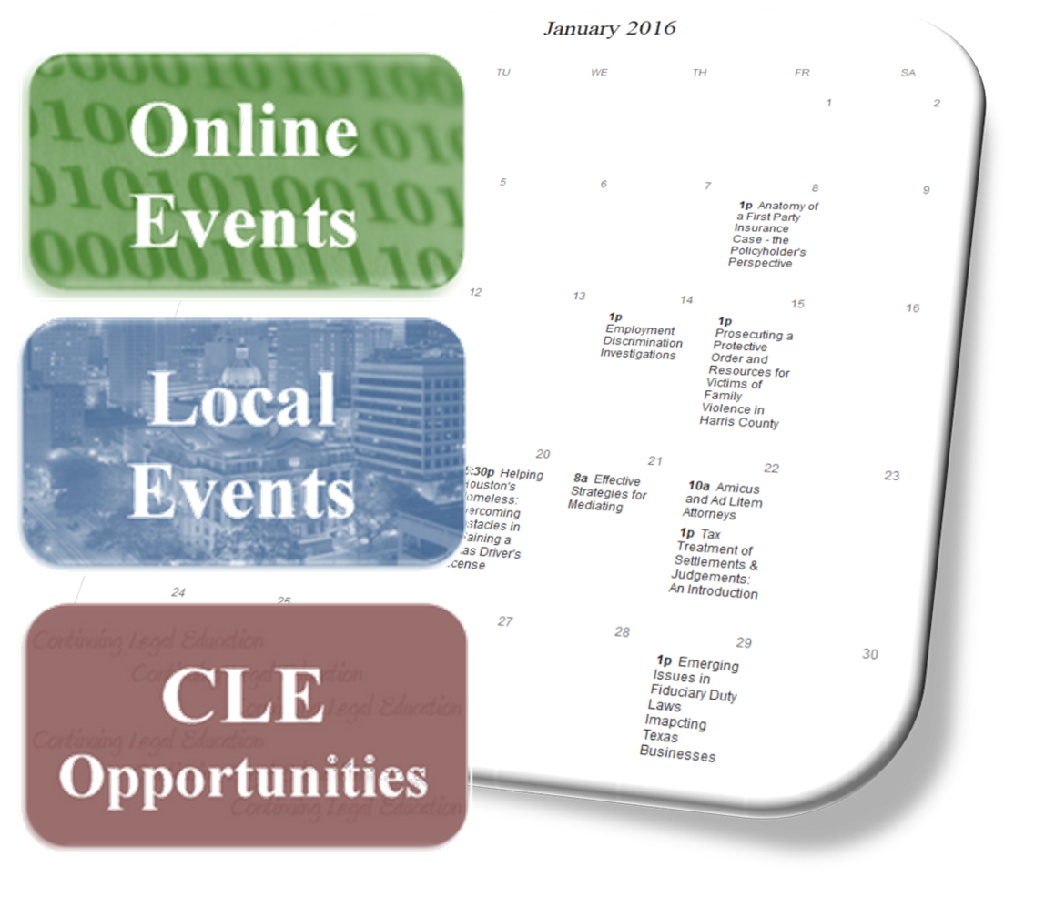 Link to Harris County Law Library's Training Opportunities Calendar