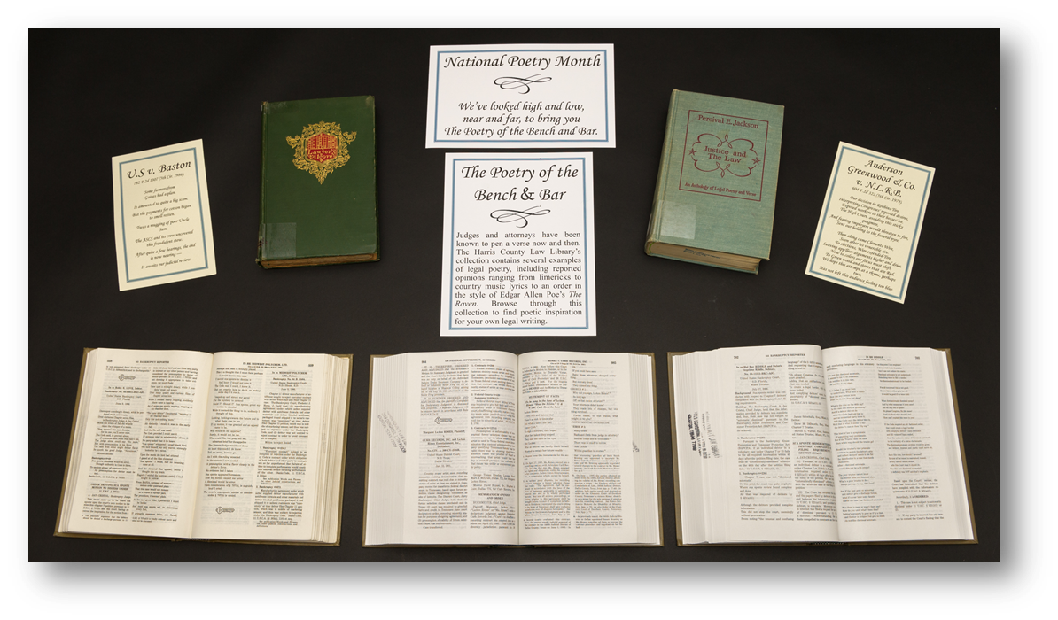 Poetry of the Bench and Bar Exhibit - National Poetry Month 2016 at the Harris County Law Library
