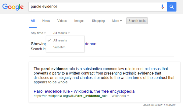 Using Google's Verbatim Search feature to customize and clarify your search queries.