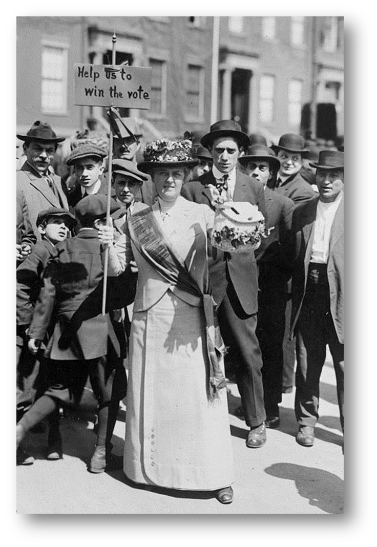 Mrs. Suffern campaigning for women's suffrage in 1914.   Visit the Library of Congress catalog for more information on this photo.