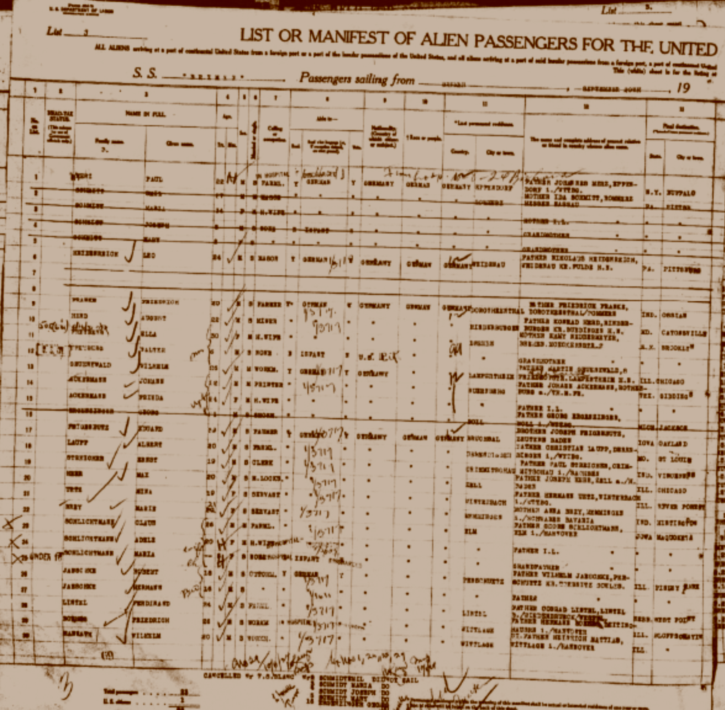Ship manifest listing Hans and Frieda Ackermann - click to enlarge.