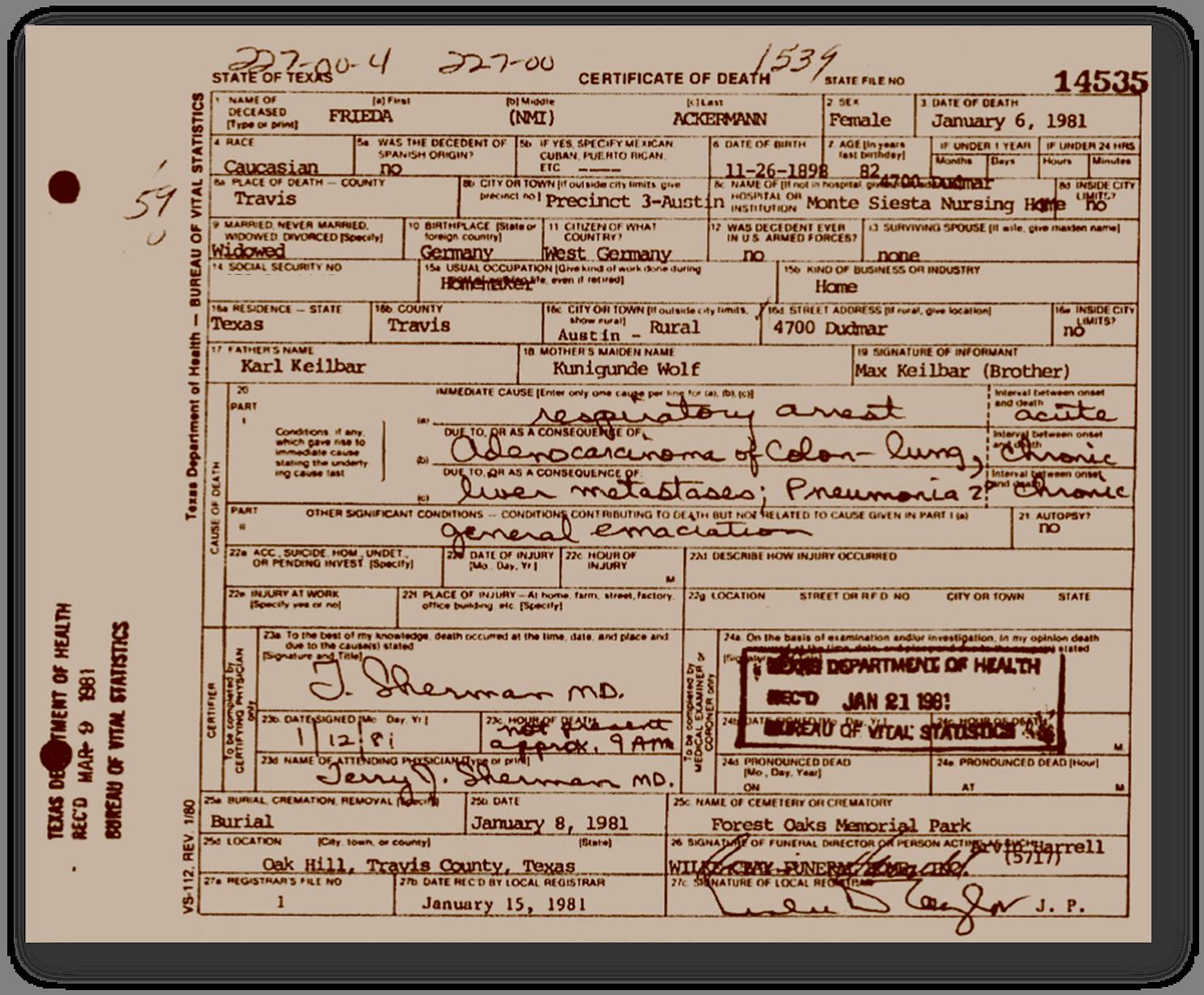 Texas Death Certificate - Frieda Ackermann