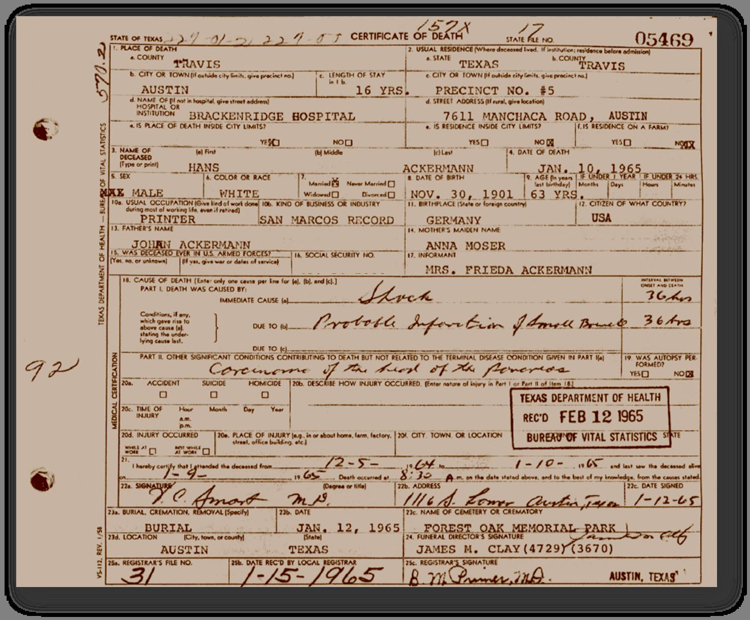 Texas Death Certificate - Hans Ackermann