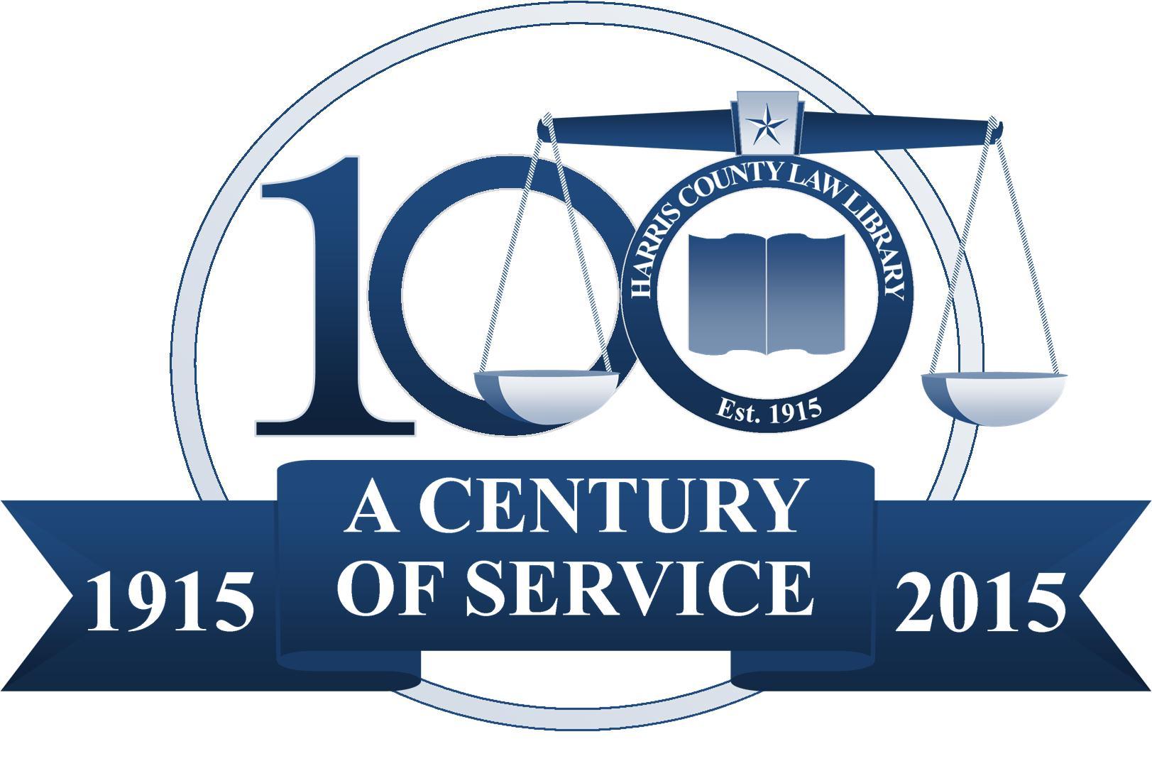 Harris County Law Library, Est. 1915 - A Century of Service: 1915-2015 (Centennial Logo)