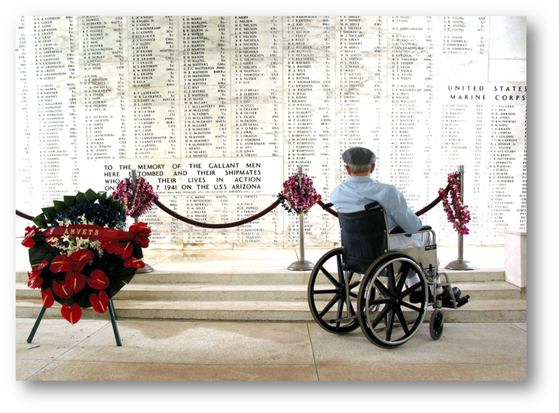 Pearl Harbor survivor Bill Johnson stares at the list of names inscribed in the USS Arizona Memorial  U.S. Navy File photo