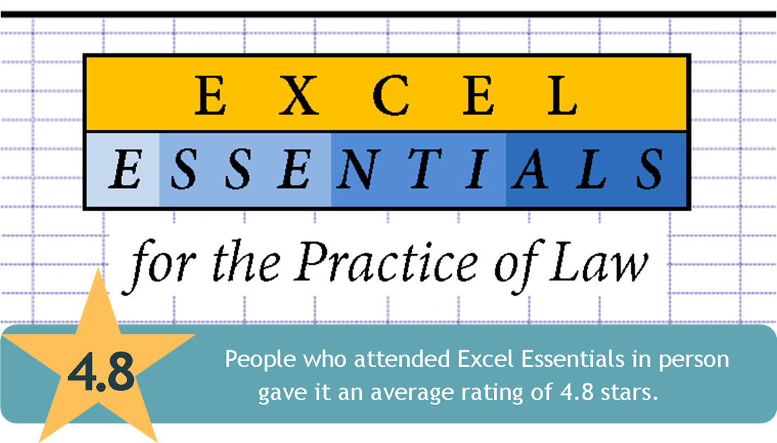 Link to Excel Essentials for the Practice of Law CLE page from the Harris County Law Library's Legal Tech Institute.