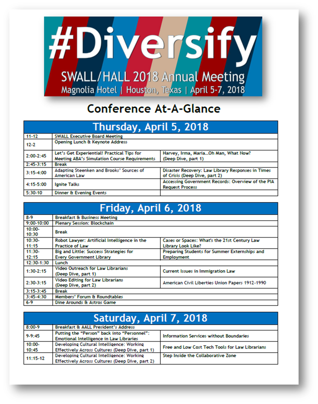 """Click to download a PDF of the """"Conference At-A-Glance."""""""