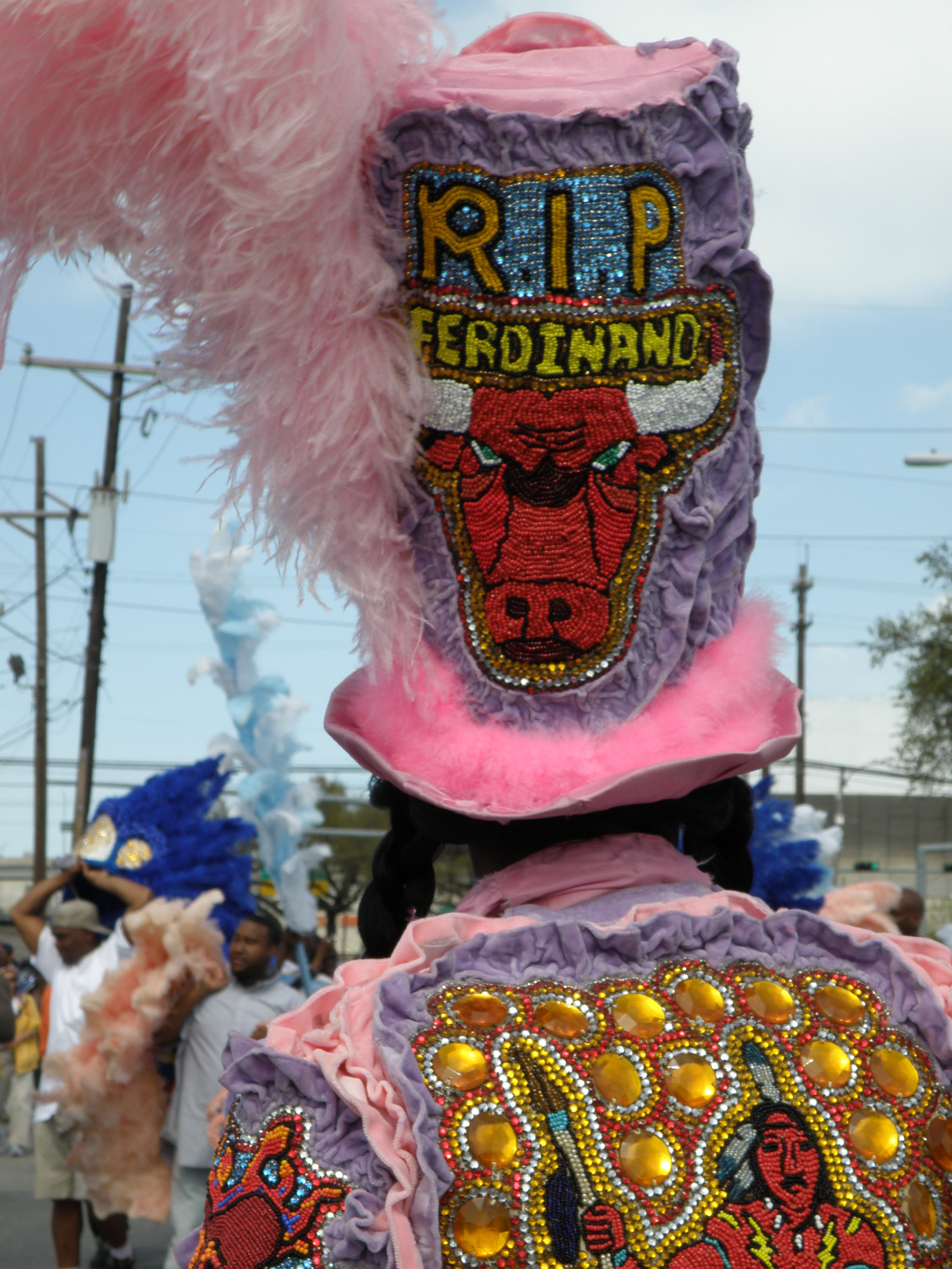 Intricate, hand beading is a hallmark of Mardi Gras Indian suits.
