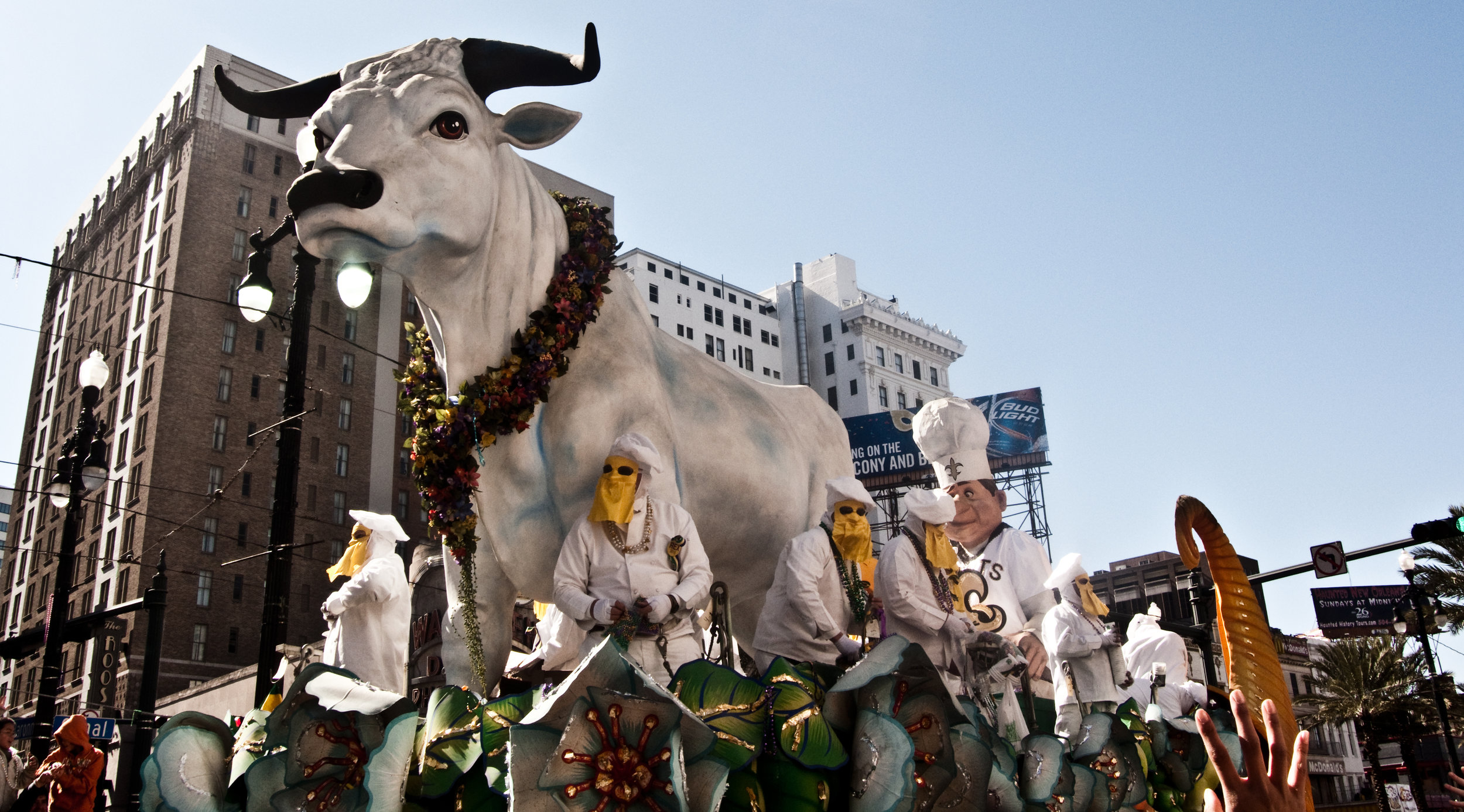 Rex, one of the oldest Mardi Gras krewes, rolls its iconic Boeuf Gras float down Canal Street on a recent Fat Tuesday.